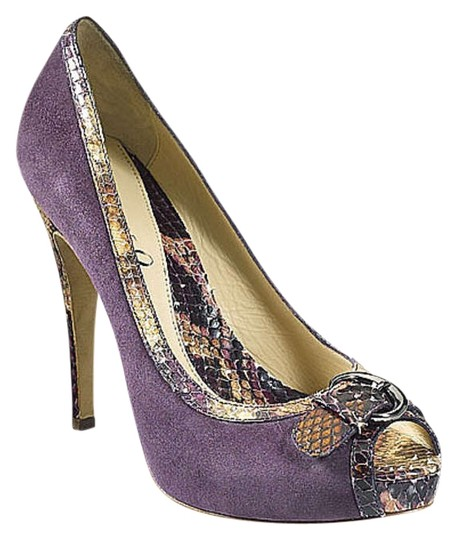 Boutique 9 Snake Snakeskin Bubbles Suede Plum Platforms