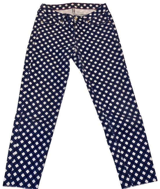 Item - Blue Gingham Broome Street Cut Off's Skinny Jeans Size 25 (2, XS)