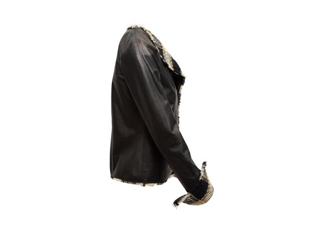 Item - Black And Multicolor Fall 2007 Leather & Tweed Jacket Size 4 (S)