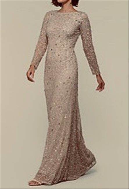 Item - Champagne Polyester Beaded Formal Bridesmaid/Mob Dress Size 2 (XS)