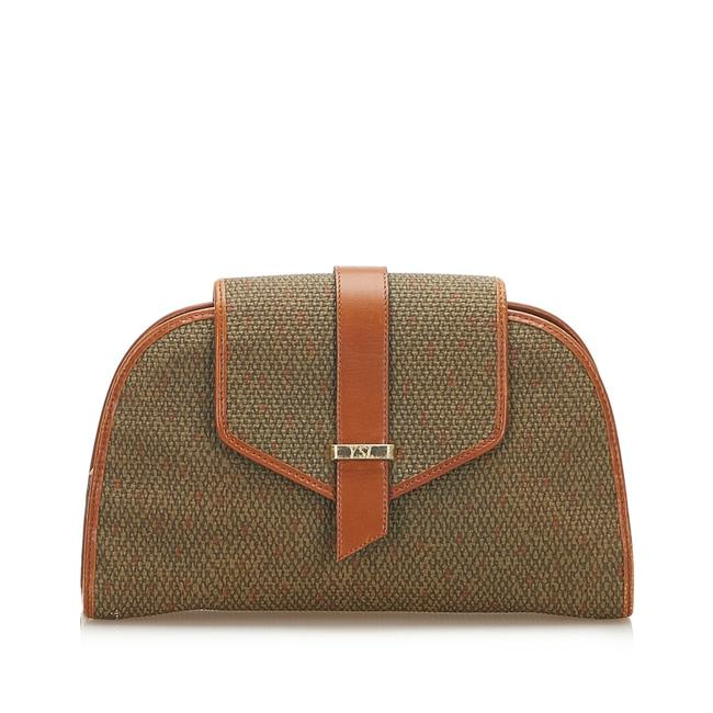 Item - Canvas Brown Leather Clutch