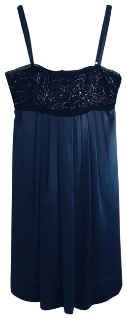 Item - Navy Pure Silk Beaded Straps Party Short Cocktail Dress Size 10 (M)
