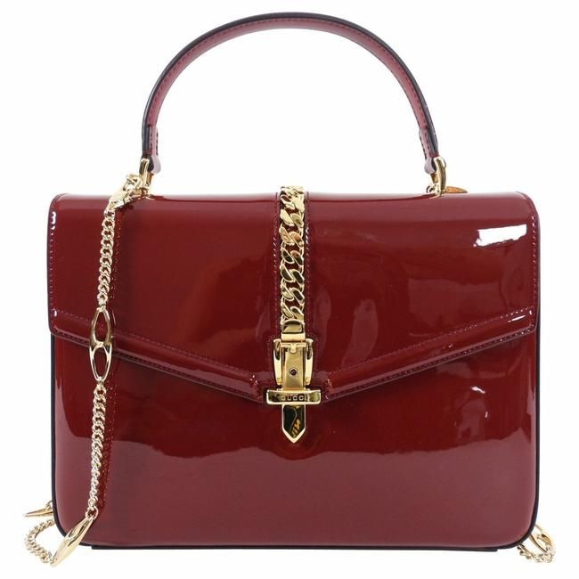 Item - Sylvie 1969 Small Top Handle Two-way Red Patent Leather Shoulder Bag