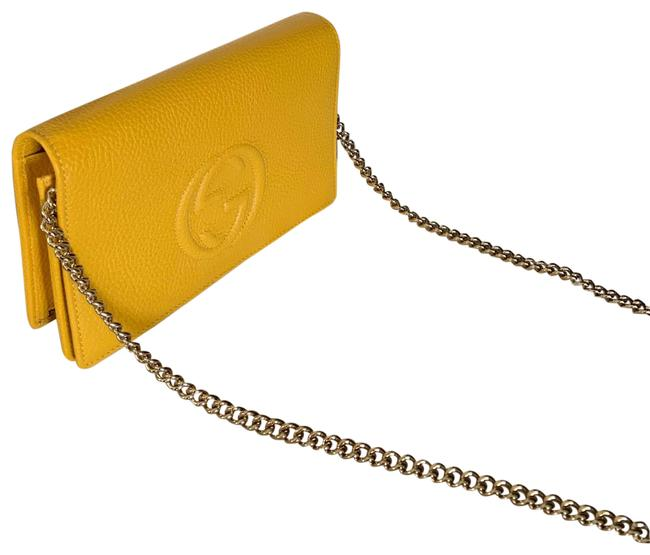 Item - Wallet on Chain Soho Embossed Yellow Leather Cross Body Bag