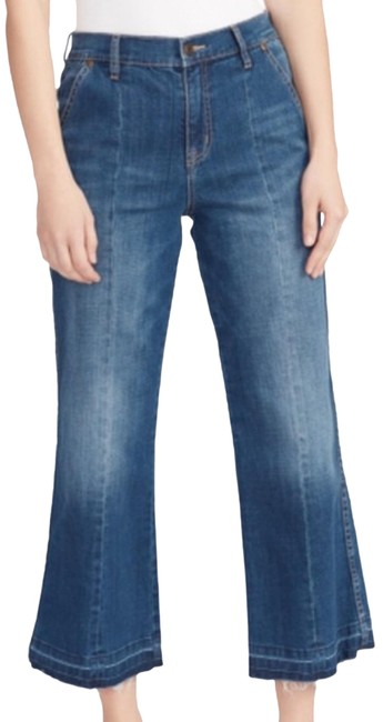 Item - Blue Distressed Anthro Ella Moss Cropped Trouser/Wide Leg Jeans Size 4 (S, 27)
