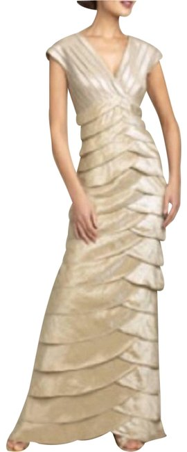 Item - Gold Tiered Champagne Long Casual Maxi Dress Size Petite 4 (S)