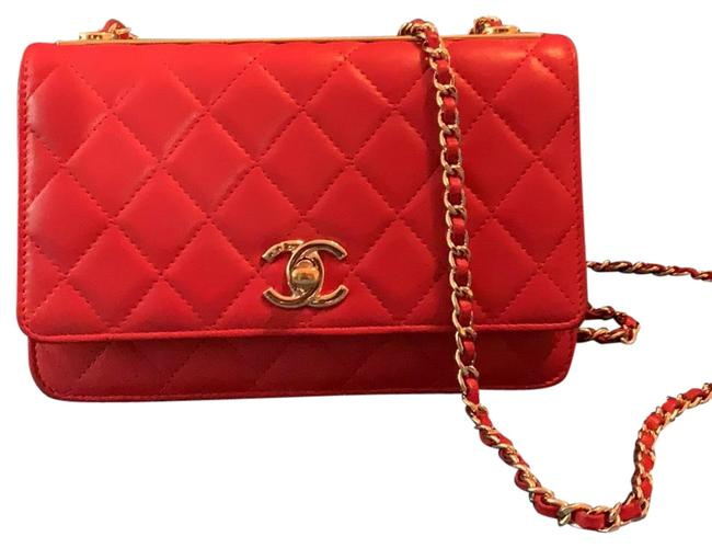 Item - Trendy Wallet Red Leather Cross Body Bag