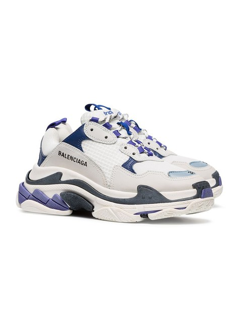 Item - White & Blue Triple S Leather Sneakers Size US 7 Regular (M, B)