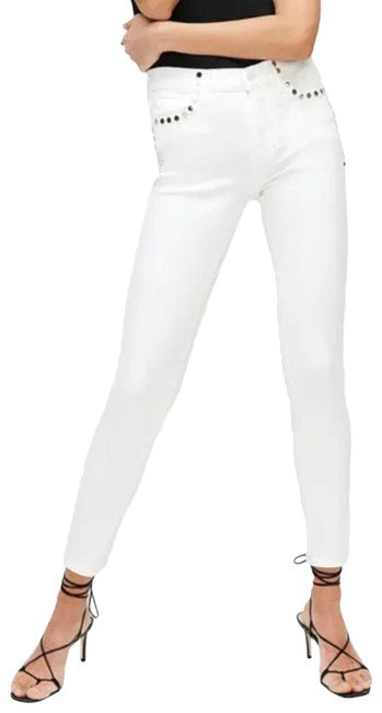 Item - Silver The with Studs White Skinny Jeans Size 24 (0, XS)