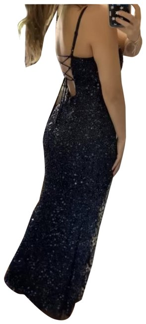 Item - Navy with Gold Accent Long Formal Dress Size 8 (M)