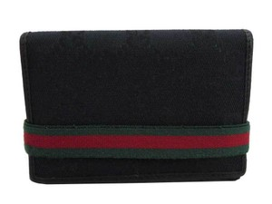 GUCCI Gucci Card Case GG Canvas Sherry Line Black Green Red Business Holder Pass Women's Men's 154456