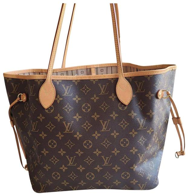 Item - Neverfull Mm Monogram Brown Leather Tote