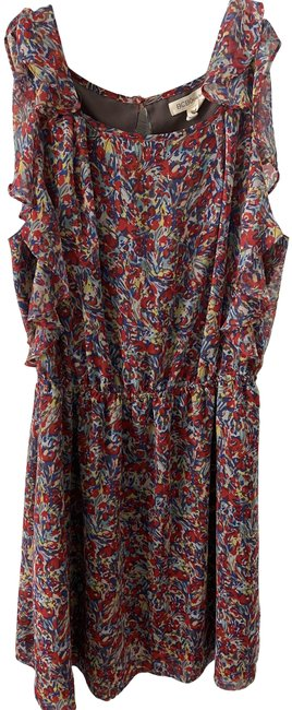 Item - Red Multi Floral Short Casual Dress Size 4 (S)