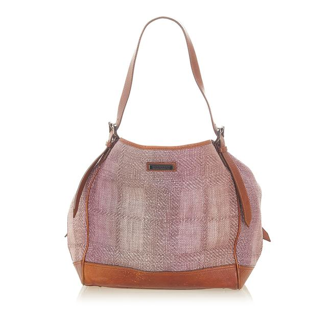 Item - Bag Canvas Woven Purple Leather Tote