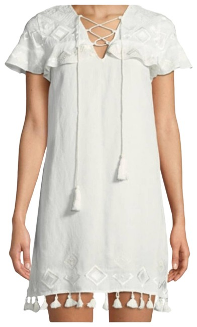 Item - White Embroidery Tassels Short Cocktail Dress Size 2 (XS)