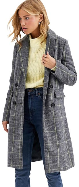 Item - Gray Qed London Double Breasted Plaid Coat Size 10 (M)