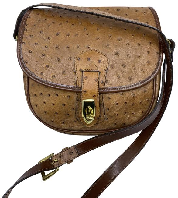 Item - Ostritch Flap Brown Leather Cross Body Bag