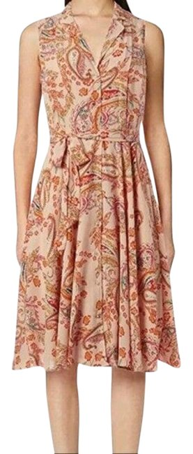 Item - Yellow Orange Floral Print Peach Sleeveless Button Front Sash Mid-length Short Casual Dress Size 2 (XS)