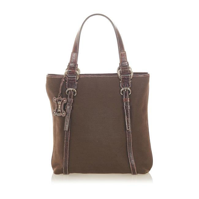 Item - Bag Canvas Brown Leather Tote