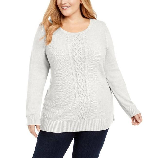 Item - Center Cable Knit Trimmed White Sweater