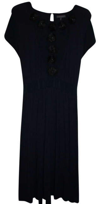 Item - Navy Business Casual Flower Detail Mid-length Work/Office Dress Size 16 (XL, Plus 0x)