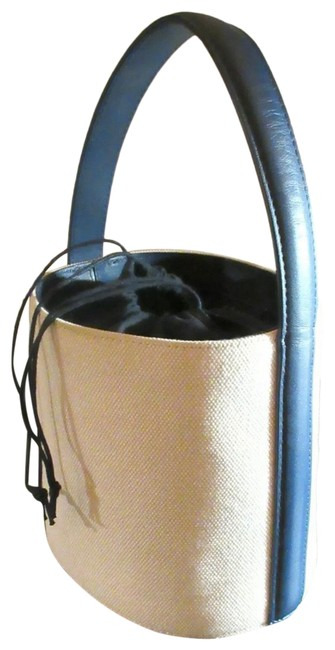 Item - Bucket W Bisset Navy Leather Handle Ivory Canvas Tote