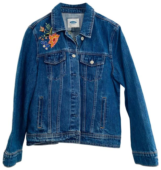 Item - Blue With Floral Embroidery Jacket Size 12 (L)