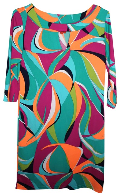 Item - Multicolor Psychedelic Shift 3/4 Sleeve Cocktail Dress Size 6 (S)