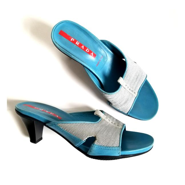 Item - Blue Silver Made In Italy Sandals Size EU 37 (Approx. US 7) Regular (M, B)