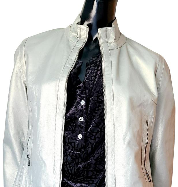 Item - Silver Cropped Motorcycle Jacket Size 4 (S)