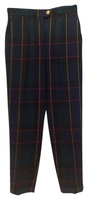 Escada Trouser Pants Dark blue and green plaid