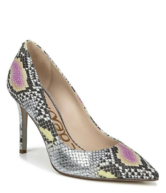 Item - Lilac Yellow Silver Hazel Snake Print Leather Pointed Toe Classic Pumps Size US 7.5 Regular (M, B)