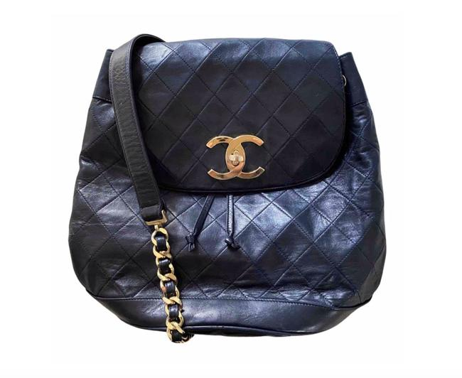 Item - Classic Flap Vintage Large Chain Black Lambskin Leather Backpack