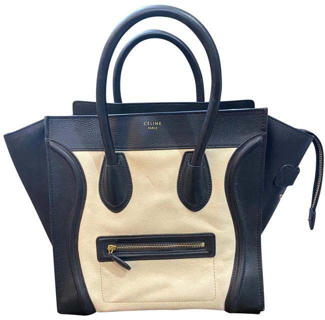 Item - Phantom Luggage Mini Calfskin + Natural Suede Black and White Lambskin Leather Tote
