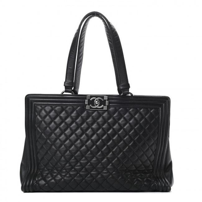 Item - Shopping Boy Large Quilted Black Lambskin Leather Tote