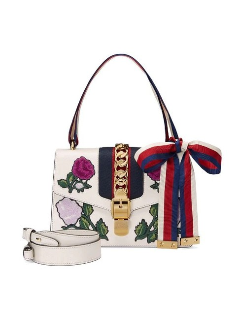 Gucci Sylvie Embroidered Small 100 White Leather Shoulder Bag Gucci Sylvie Embroidered Small 100 White Leather Shoulder Bag Image 1