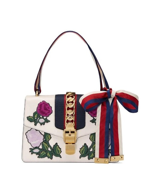 Gucci Sylvie Embroidered Small 100 White Leather Shoulder Bag Gucci Sylvie Embroidered Small 100 White Leather Shoulder Bag Image 2