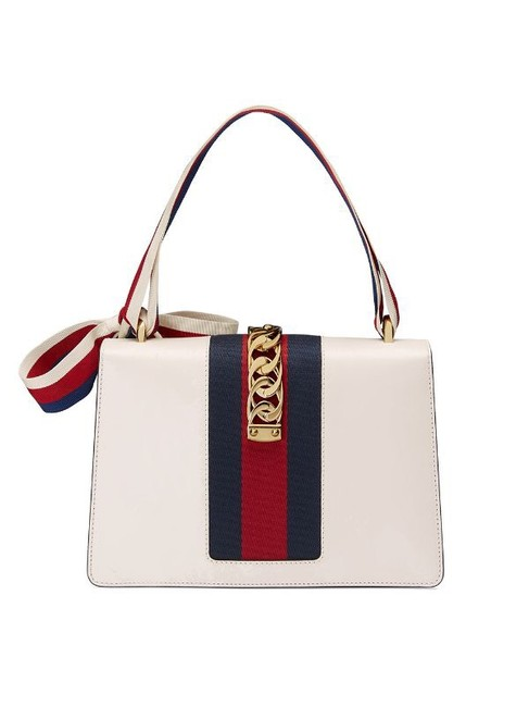 Gucci Sylvie Embroidered Small 100 White Leather Shoulder Bag Gucci Sylvie Embroidered Small 100 White Leather Shoulder Bag Image 4