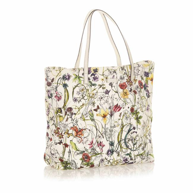 Item - Bag Flora Canvas White Leather Tote