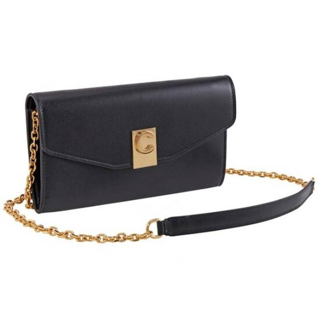 Item - Wallet on Chain Leather On Gold Signature C Black Cross Body Bag