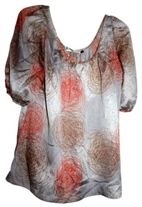 Veronica M Flowy Top Silver/White/Pink/Orange