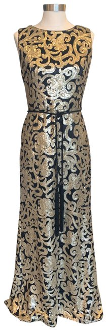 Item - Black with Gold Belted Sequin Gown Long Formal Dress Size 6 (S)