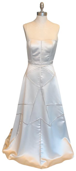 Item - Ivory/ Champagne Gold Evening Long Formal Dress Size 6 (S)