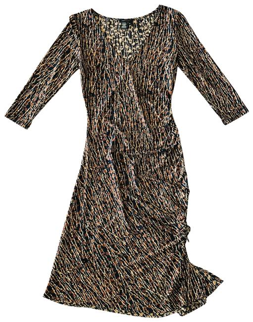 Item - Brown Colorful Gathered Stretch Pencil Mid-length Short Casual Dress Size 8 (M)