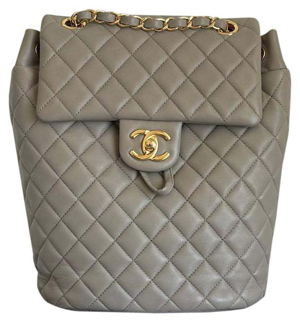 Item - Quilted Urban Spirit Grey Gold Hardware Leather Backpack