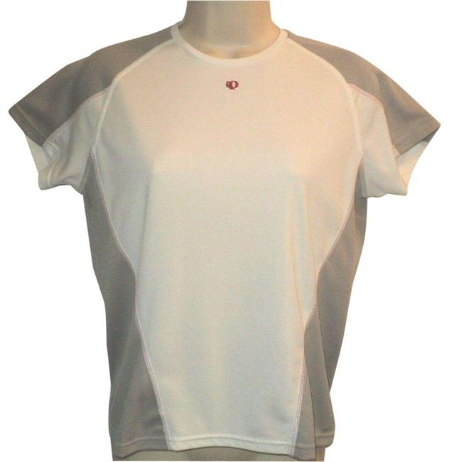 Item - White & Tan Jersey Athletic Sleeves Stretchy Activewear Top Size 6 (S)