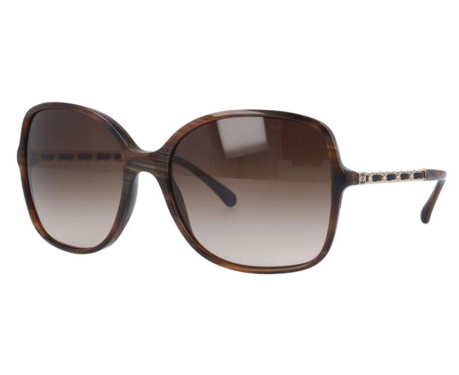 Item - Brown Havana Ch 5210-q-a C.714/S5 57mm Oversized Leather Asian Fit Sunglasses