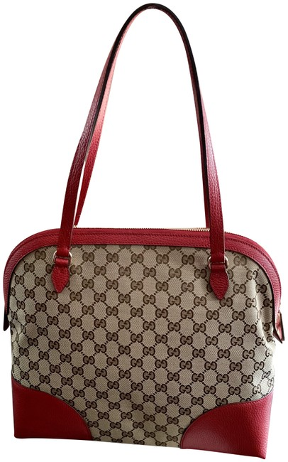 Item - Bag Bree Dome Hobo Red/ Canvas Gg Tote