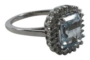14kt White Gold Aquamarine Diamond Engagement Cocktail Ring