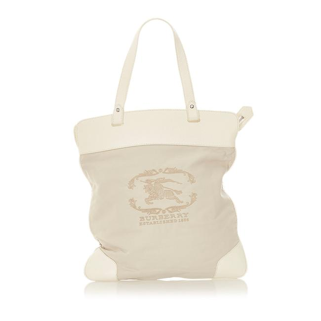 Item - Bag Canvas Gray Leather Tote